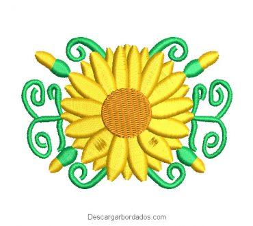 Diseño Bordado de Girasoles con Ramas