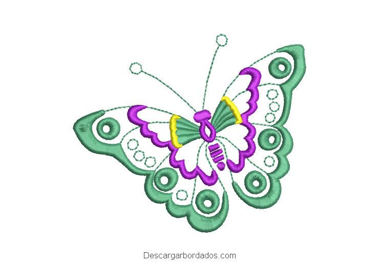 Diseño borado de mariposa verde volando