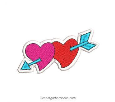 Diseño bordado 2 Corazones para Día de San Valentín