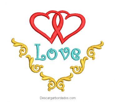 Diseño bordado 2 corazones para boda