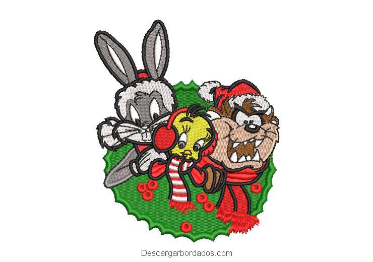 Diseño bordado Looney Tunes de navidad