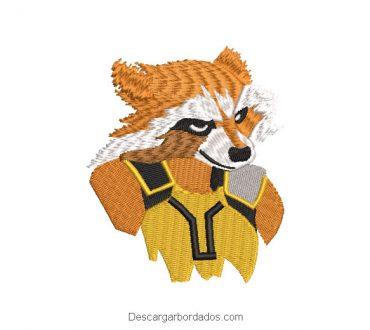Diseño bordado Rocket Raccoon Superhéroe