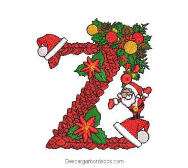 Diseño bordado Z de navidad con decoración