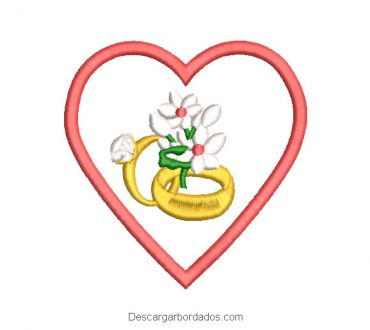 Diseño bordado anillo de boda con corazón