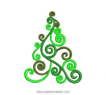 Diseño bordado árbol de navidad con decoración
