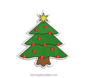 Diseño bordado árbol de navidad con estrella