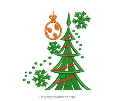 Diseño bordado árbol de navidad con luces