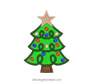 Diseño bordado árbol de navidad con luces de colores