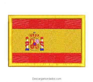 Diseño bordado bandera de españa con escudo