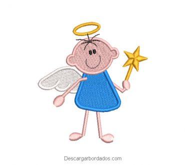 Diseño bordado bebé ángel con estrella mágica