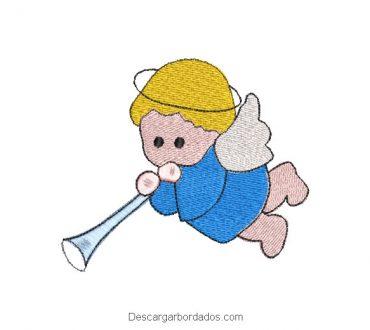 Diseño bordado bebe ángel con trompeta