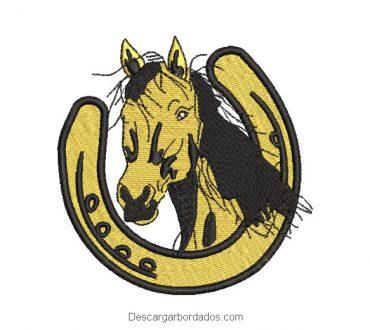 Diseño bordado caballo con herradura de la suerte