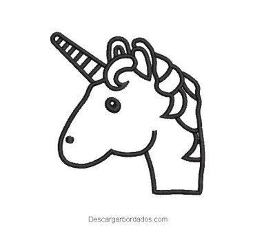Diseño bordado cabeza de pony unicornio linial