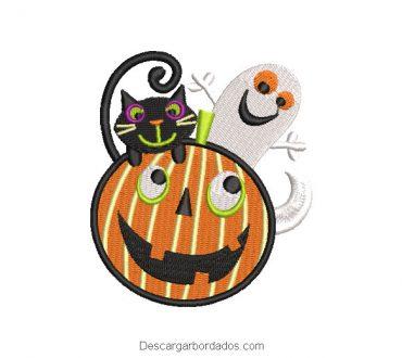 Diseño bordado calabaza fantasma halloween