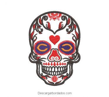 Diseño bordado calavera catrina con corazón