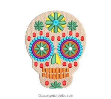 Diseño bordado calavera mexicano la catrina