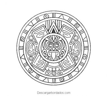 Diseño bordado calendario azteca