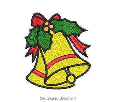 Diseño bordado campana de Navidad con lazo