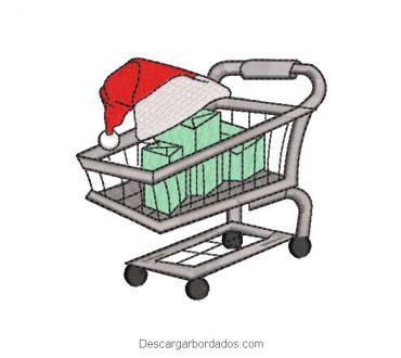 Diseño bordado carrito con regalos de navidad