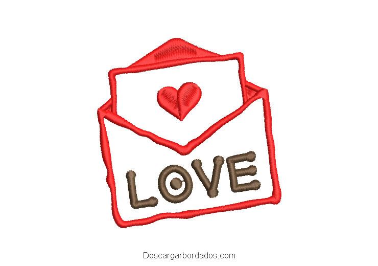 Diseño bordado carta de amor con letra