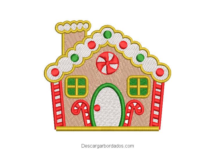 Diseño bordado casa de golosinas para navidad
