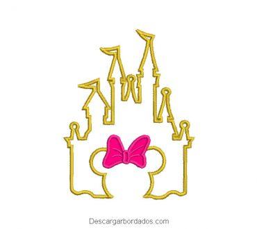 Diseño bordado castillo de minnie mouse con aplicación