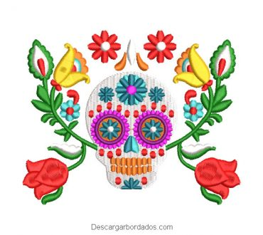 Diseño bordado catrina calavera mexicano