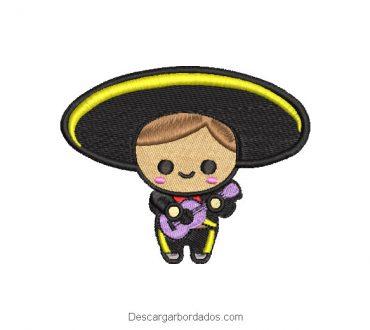 Diseño bordado charrito muñeco mexicano