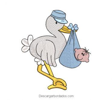 Diseño bordado cigueña con bebé
