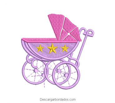 Diseño bordado coche de bebe