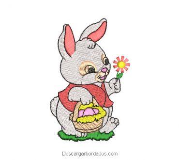 Diseño bordado conejo con flores