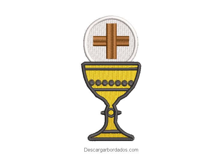 Diseño bordado copa caliz con cruz