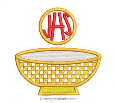 Diseño bordado copa caliz de oro con letra JHS