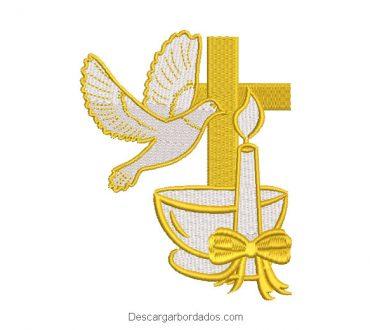 Diseño bordado copa cruz con vela y paloma