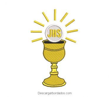 Diseño bordado copa de caliz para bautizo