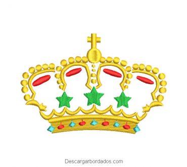 Diseño bordado corona con estrella