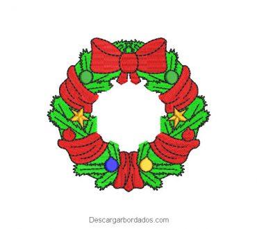 Diseño bordado corona de navidad para máquina