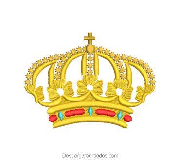 Diseño bordado corona del rey con cruz