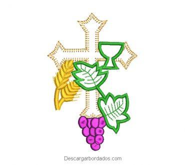 Diseño bordado cruz uvas ramas y espigas de trigo