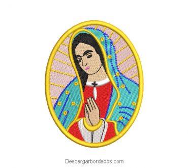 Diseño bordado cuadro virgen de guadalupe rezando