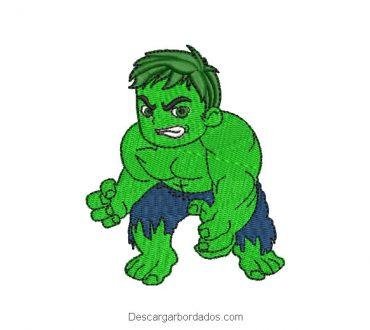 Diseño bordado de Hulk superhéroe