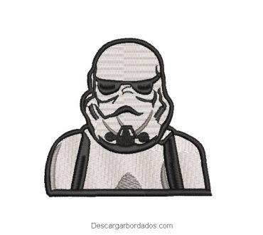 Diseño bordado de Star Wars soldado blanco