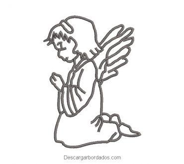 Diseño bordado de ángel rezando silueta