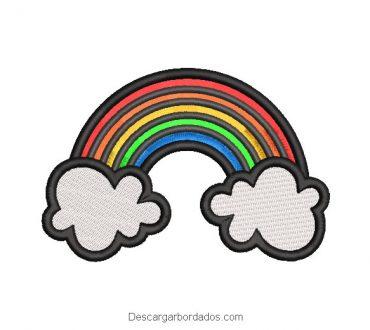 Diseño bordado de arco iris con borde