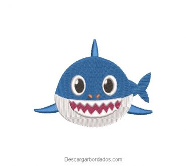 Diseño bordado de bebé tiburon baby shark
