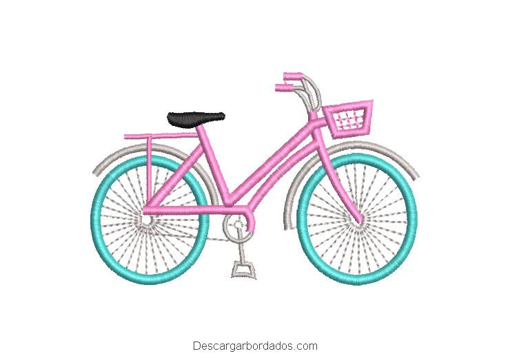 Diseño bordado de bicicleta de niña