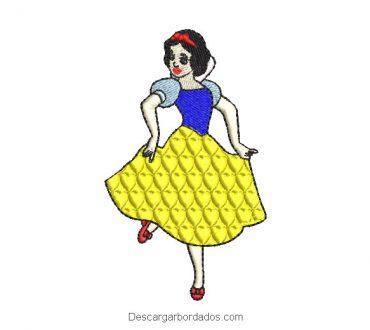 Diseño bordado de blancanieves bailando