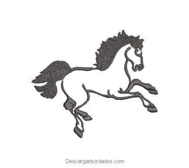 Diseño bordado de caballo saltando