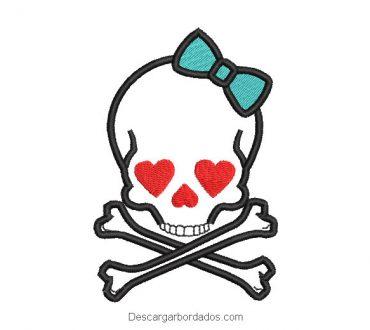 Diseño bordado de calavera con corazones