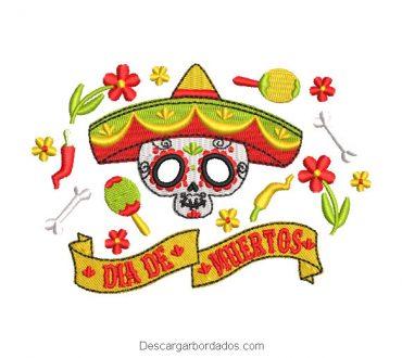Diseño bordado de calavera día de los muertos